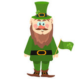 Leprechaun presenting holiday little green man vector character illustration. Stock Photography