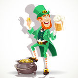 Leprechaun protects pot of gold coins Royalty Free Stock Photo