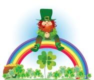 Leprechaun on rainbow. Vector illustration of leprechaun sitting on the rainbow in shamrock meadow Vector Illustration