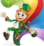 Leprechaun on rainbow background Royalty Free Stock Photo