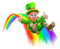 Leprechaun and Rainbow 8 Bit Arcade Game Pixel Art. A leprechaun St Patrick s day cartoon character sliding down a rainbow in a retro 8 bit arcade video game royalty free illustration