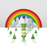 Leprechaun with rainbow and shamrocks vector Royalty Free Stock Images