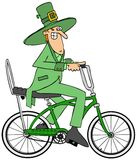 Leprechaun riding a bicycle Royalty Free Stock Images
