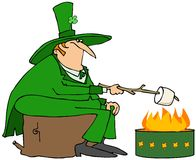 Leprechaun roasting a marshmallow Stock Photos