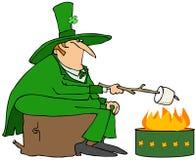 Leprechaun roasting a marshmallow Stock Photos