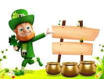 Leprechaun running near sign for patrick day Stock Photo