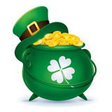 Leprechaun's hat and pot of gold Royalty Free Stock Images