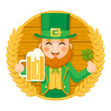 Leprechaun Saint Patrick Day Celebration Clover Success and Prosperity Symbol Mug of Beer with Foam Icon on Barrel Royalty Free Stock Images