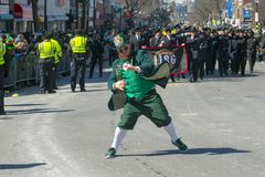 Leprechaun in Saint Patrick's Day parade Boston, USA Royalty Free Stock Photo