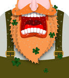 Leprechaun screams. Scary Gnome red beard shouts. Angry dwarf sh. Out. grandfather in green coat. Open your mouth and teeth. Illustration for St. Patricks Day Stock Photo