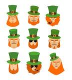 Leprechaun set head. Funny and serious facial leprechauns. Royalty Free Stock Photo