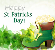 Leprechaun shoe, clover and gold coins Royalty Free Stock Photography