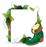 Leprechaun shoe and gold coins Stock Photos