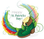 Leprechaun shoe with gold coins and rainbow Royalty Free Stock Photo