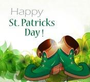 Leprechaun shoes and clover Royalty Free Stock Photos