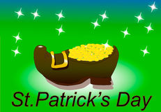 Leprechaun shoes with gold green. Background Stock Images
