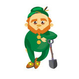 Leprechaun with a shovel Stock Images