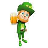 Leprechaun showing beer glass for st. patrick's day Royalty Free Stock Photos