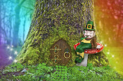 Leprechaun sitting on a mushroom in forest with rainbow and fairy lights. Leprechaun sitting on a mushroom in front of a tree with a fairy door, rainbow and royalty free stock photography