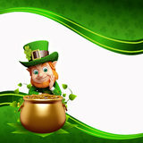 Leprechaun sitting near golden coins pot Stock Photography