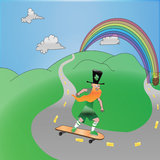 Leprechaun on Skateboard. This is a leprechaun riding on a skateboard riding toward his pot of gold at the end of the rainbow Royalty Free Stock Photos