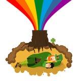 Leprechaun sleeps hole under ground. Lair of Gnome. dwarf for St. Patricks Day. national irish holiday Stock Image