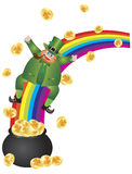 Leprechaun Sliding Down Rainbow Royalty Free Stock Photo