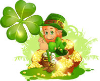 Leprechaun. The small gnome sitting on a lot of treasures vector illustration