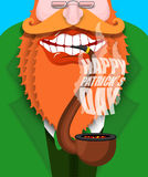 Leprechaun smokes pipe. Happy Patricks Day. Smoking set brier an. D Smoke, embers. Red beard. Open your mouth and teeth. National Holiday in Ireland Stock Images
