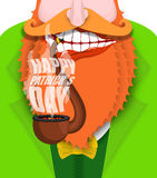 Leprechaun smokes pipe. Patricks Day. Smoking set brier and Smok. E, embers. Red beard. Open your mouth and teeth. National Holiday in Ireland Royalty Free Stock Photo
