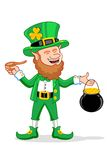 Leprechaun with Smoking Pipe and Gold Coin Pot Stock Images