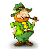 Leprechaun with a smoking pipe. Royalty Free Stock Photos