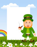 Leprechaun Smoking Pipe Vertical Frame Stock Image