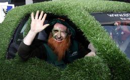 Leprechaun in st patrick's parade london royalty free stock photography