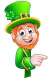Leprechaun St Patricks Day Cartoon Mascot Pointing Royalty Free Stock Image