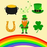 Happy St. Patrick Day scene creator set vector illustration. Leprechaun, clover shamrock leaf, the hat, pot of gold, rainbow, magi. C wind vector illustration