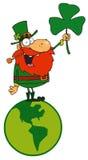 Leprechaun Standing On A Globe. Lucky Leprechaun Standing On A Globe vector illustration