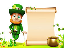 Leprechaun standing near big sign for patrick day Stock Image