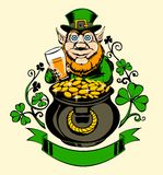 Leprechaun is standing next to a pot of gold Stock Photography