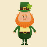 Leprechaun standing with suit hat clover Royalty Free Stock Images