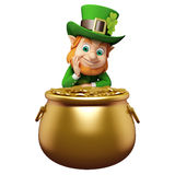 Leprechaun stands behind golden coins pot for st. patrick's day Royalty Free Stock Images