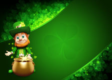 Leprechaun stands with golden coins pot Stock Image