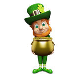 Leprechaun stands with golden coins pot for st. patrick's day Stock Photo