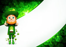 Leprechaun stands on green background Stock Photography