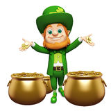Leprechaun stands in middle of golden coin pot for st. patrick's day Stock Images