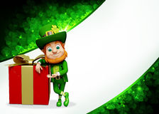 Leprechaun stands near gift for patrics day Stock Images