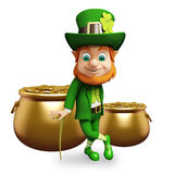 Leprechaun stands near golden coin pot for st. patrick's day Stock Image