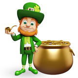 Leprechaun stands near golden coin pot for st. patrick's day Royalty Free Stock Photo