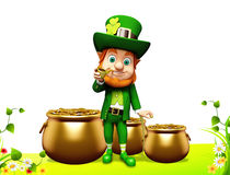 Leprechaun stands near golden pot Stock Image