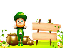 Leprechaun stands near wooden sign for patrick day Stock Photos